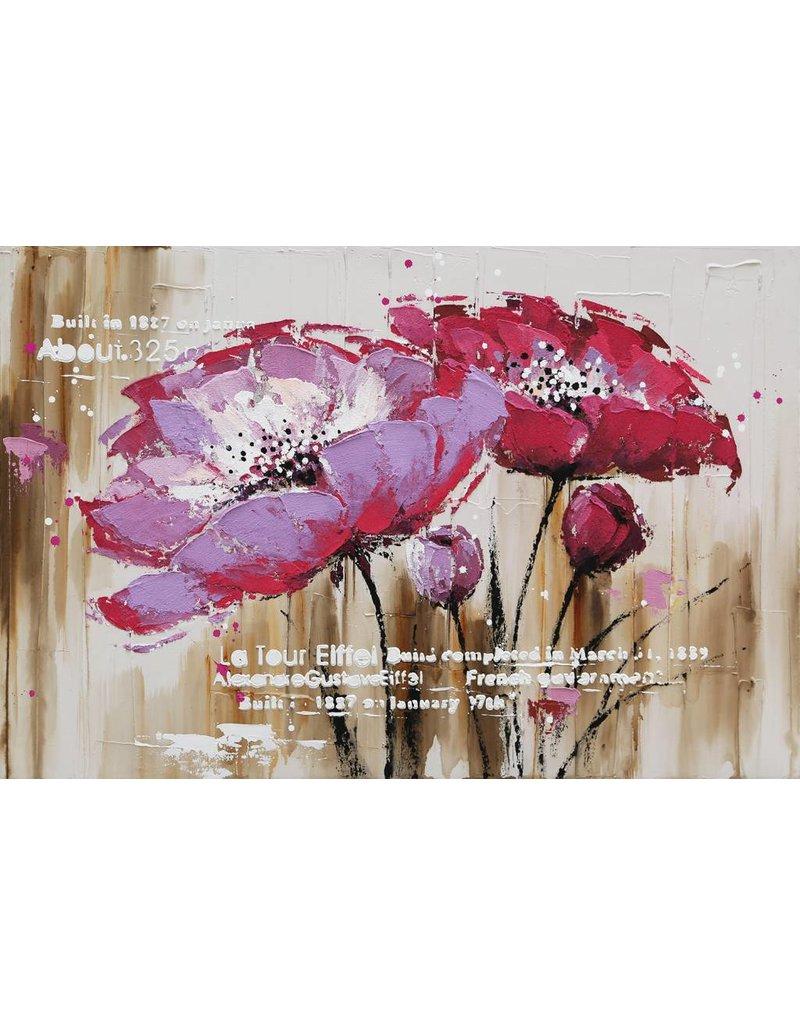 Canvas schilderij 80x120cm Rode Bloem