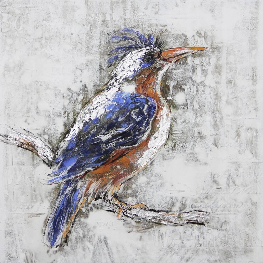 Canvas schilderij 80x80cm Ijsvogel