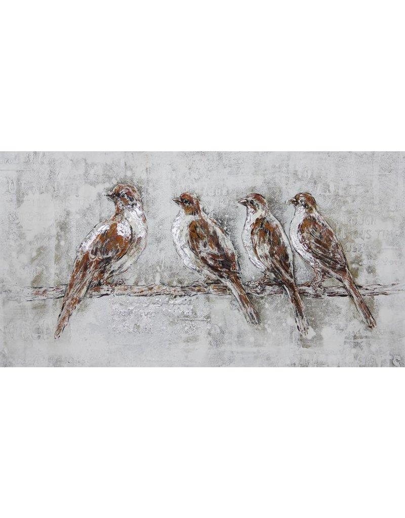 Canvas schilderij 70x140cm 4 mussen