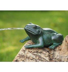 Bronzen kikker spuitend