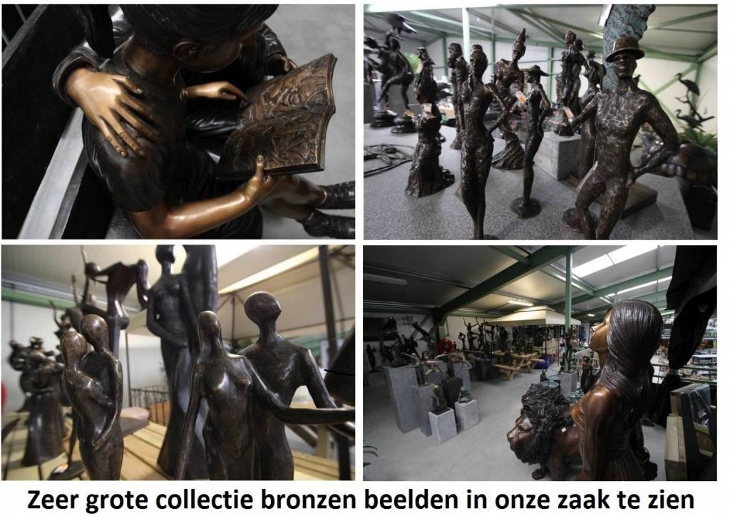 Eliassen Bild Bronze 2 Pfauen auf Baumstumpf