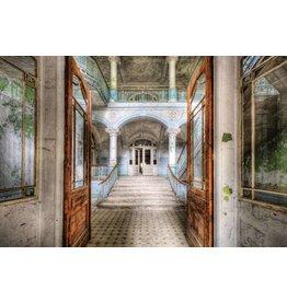 Foto achterglas schilderij Openstaande deuren