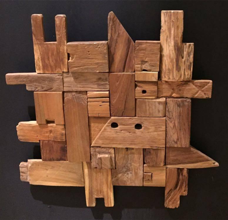 Wandpaneel hout Blokken 70