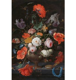 Dibond painting Still life with flowers and Watch