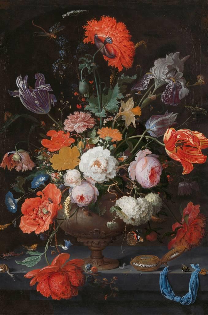 Uitzonderlijk Dibond schilderij Stilleven met bloemen en Horloge - Eliassen Home  &MB56