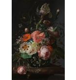 Schilderij dibond Stilleven met bloemen op maremeren tafel
