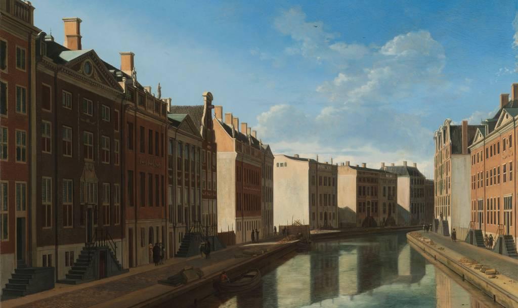 Schilderij dibond Gezicht op de gouden bocht Herengracht