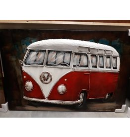 Eliassen Schilderij 3d metaal Bus rood 80x120cm