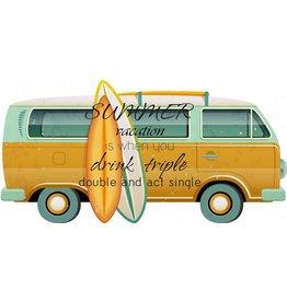 Wanddeco VW bus met surfplank
