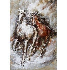 3D-Malerei Metall 2 Pferde 80x120cm
