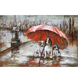 Malerei Metall Hund3d Wetter 80x120cm
