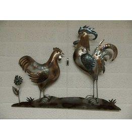 Wanddekoration 3D-Metall-Henne und Hahn
