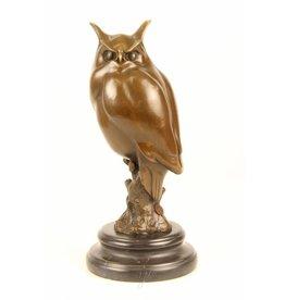 Owl Bronze auf Marmorsockel