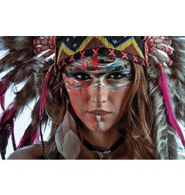 MondiArt Schilderij glas Indian woman 80x120cm