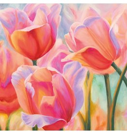 MondiArt Schilderij glas 80x80cm Tulpen1
