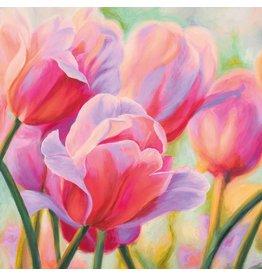MondiArt Schilderij glas 80x80cm Tulpen