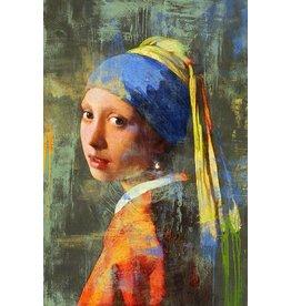 MondiArt Aluminiummalerei Mädchen mit der Perle Modern 180x120cm