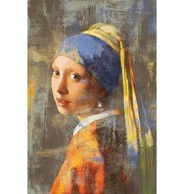 MondiArt Glasmalerei 80x120cm Mädchen mit dem Perlenohrring modernen