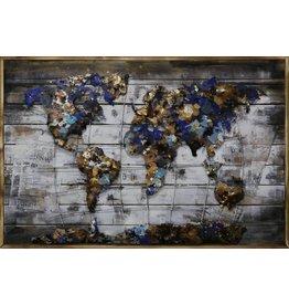 3D schilderij Metaal-hout  Wereld 9   80x120cm