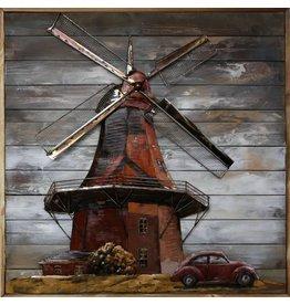 Malerei 3D-Metall-Holz Dutch Mill 100x100cm
