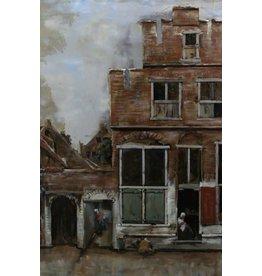 Schilderij ijzer 3d  Straatje in Delft 80x120cm