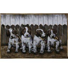 Schilderij ijzer-hout Puppies 80x120cm