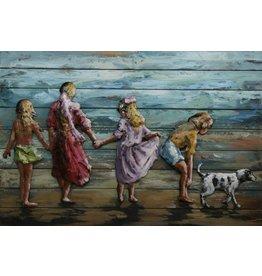 Schilderij ijzer-hout 3d  Kinderen 80x120cm