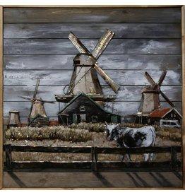 Schilderij ijzer-hout De Zaan 100x100cm