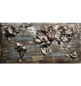3D schilderij ijzer 60x120cm  Wereldkaart 10
