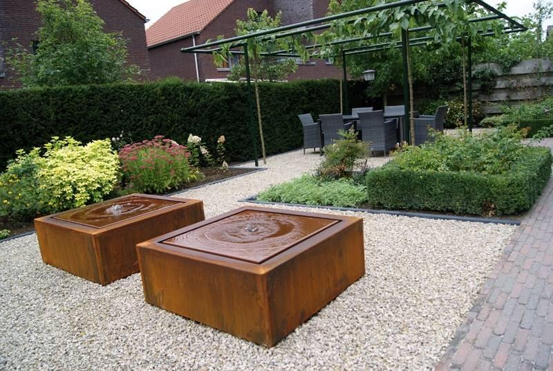 watertafel adezz vierkant cortenstaal in 3 maten eliassen home garden pleasure. Black Bedroom Furniture Sets. Home Design Ideas