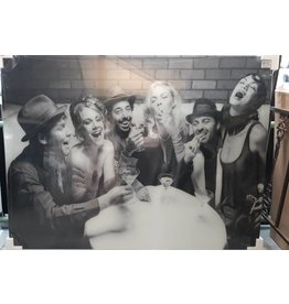 MondiArt Gemälde XXL Glas Feiern Menschen 120x160cm