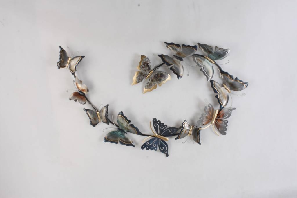 Eliassen Muurdecoratie metaal 3D Zwerm vlinders