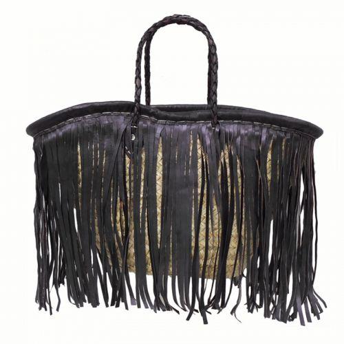 Bag with black leather fringe