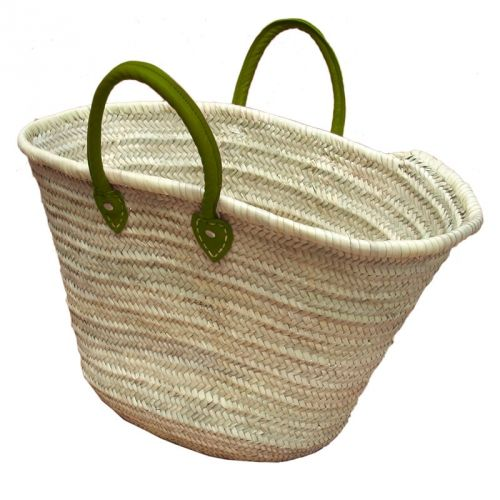 Basket with green leather handles