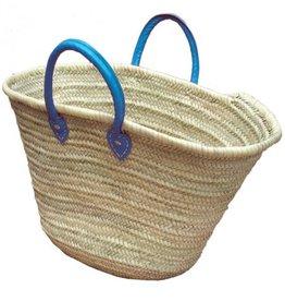 Basket met blauw leren hangsels