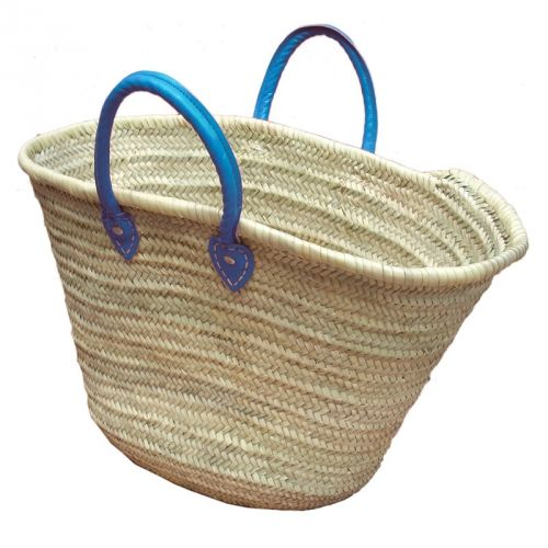 Basket with blue leather handles