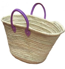 Basket with purple leather handles