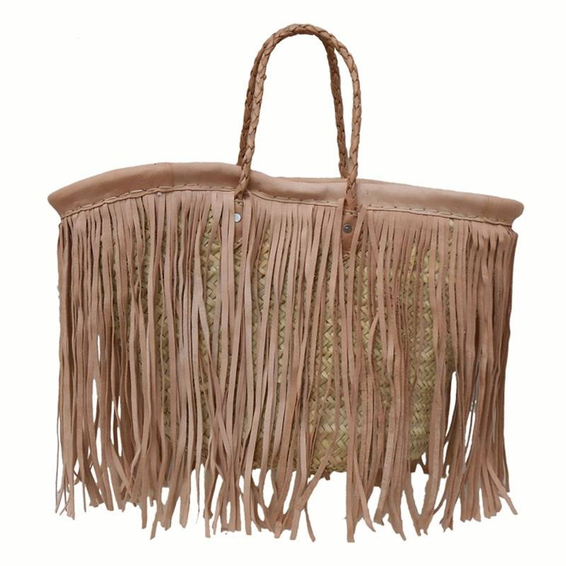 Basket with natural leather fringle