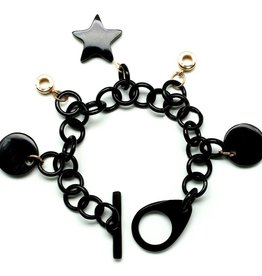 "Bracelet black horn with charms ""Sparkles"""