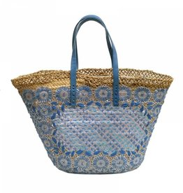 Basket bleu neon embroidered and long leather handles