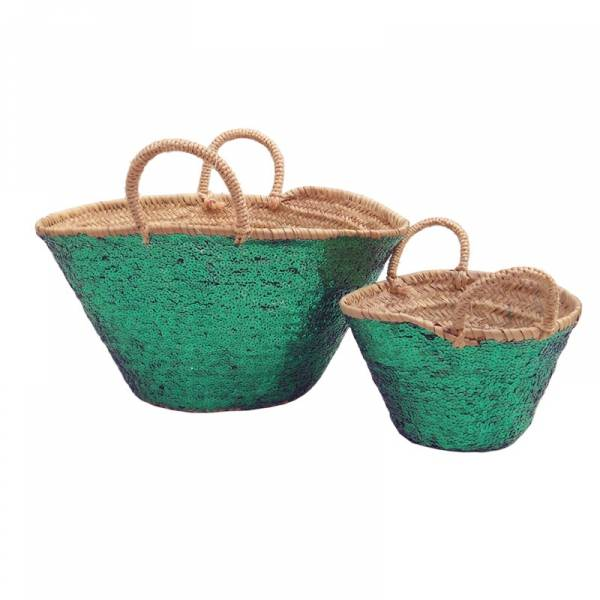 Baskets green sequin big and small