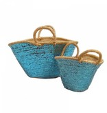 Large and small blue sequin basket