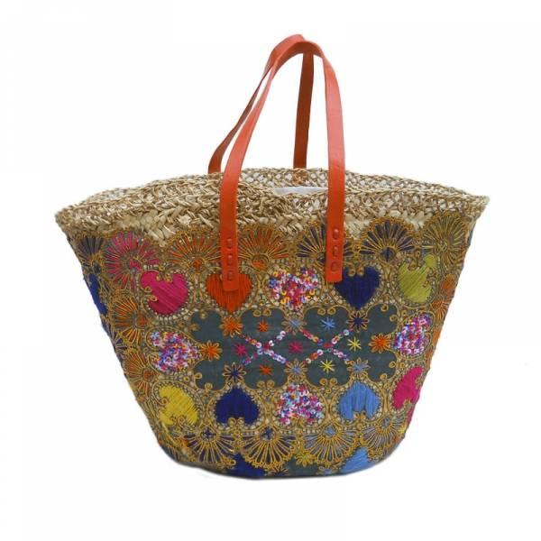 Bohemian basket flat handle orange leather