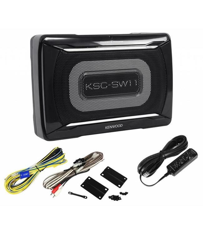 Kenwood KSC-SW11 platte actieve subwoofer voor in de auto onder de stoel of kleine ruimte in een bestelbus of camper