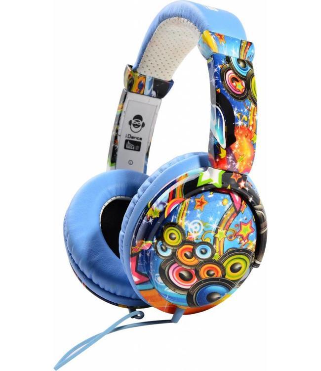 iDance Ibiza 101 Blauwe koptelefoon met een goed geluid en microfoon voor handsfree bellen