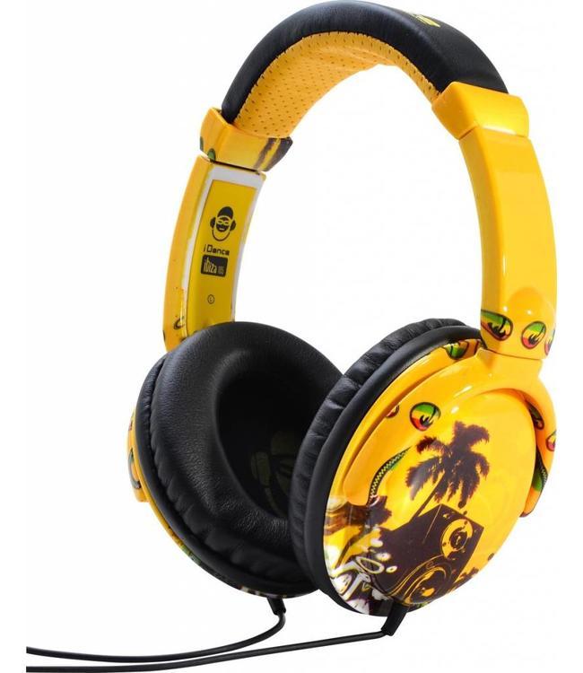 iDance Ibiza 105 gele koptelefoon met een goed geluid en microfoon voor handsfree bellen