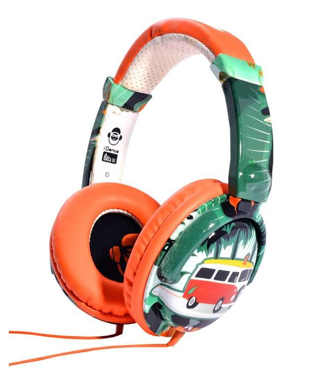 iDance Ibiza 106 orange/surf koptelefoon met een goed geluid en microfoon voor handsfree bellen VW bus t1 beach look