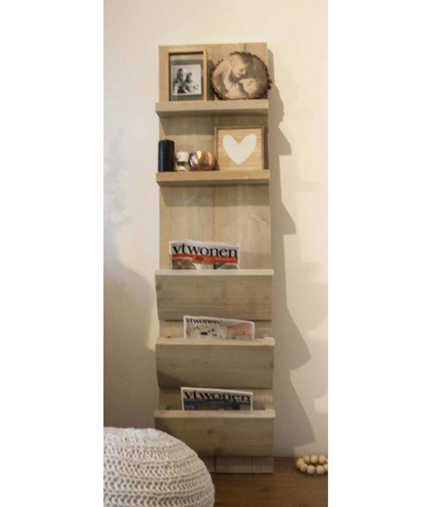Steigerhouten tijdschriftenrek