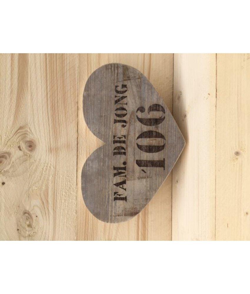 Huisnummerbord 'hart'