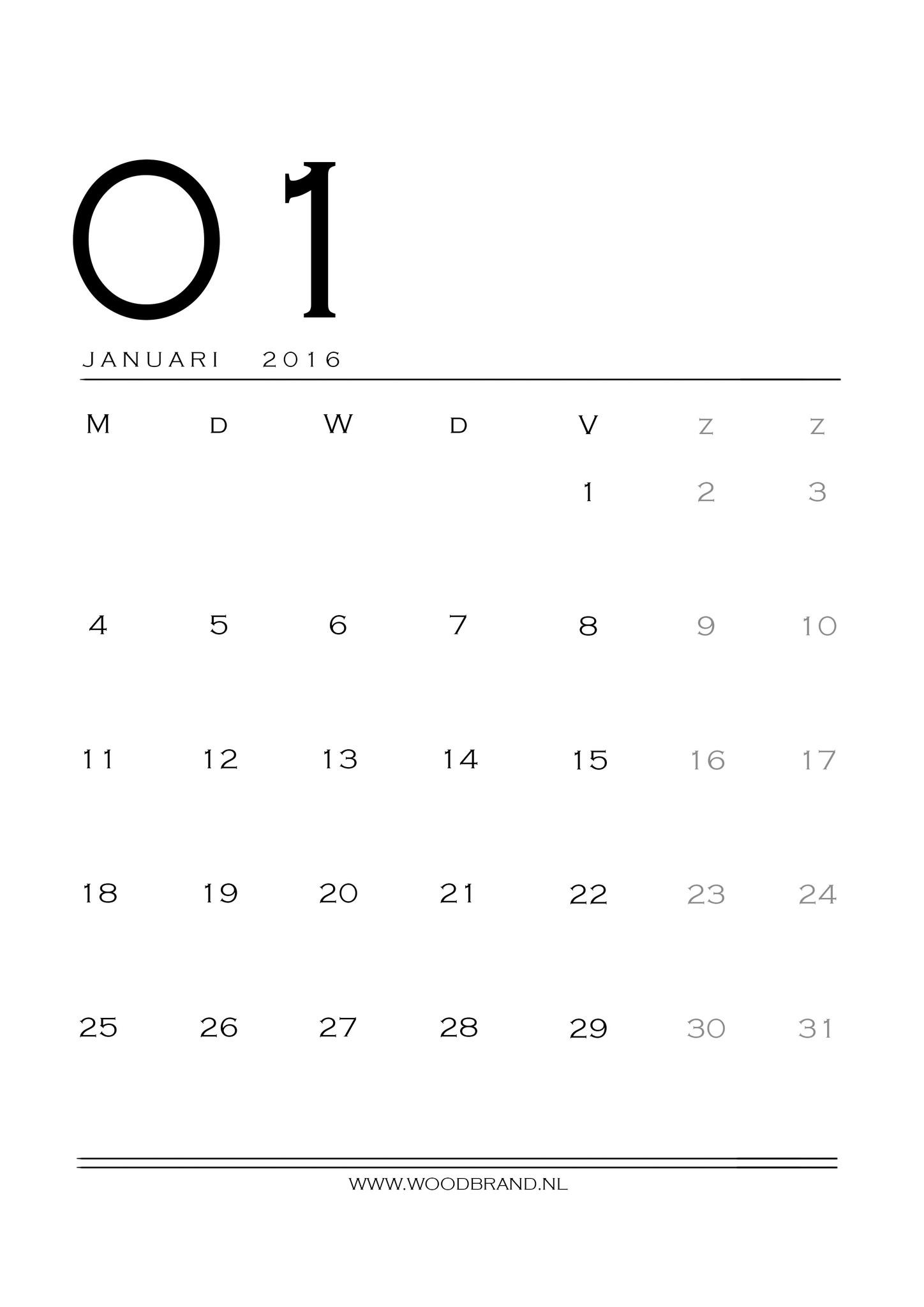 Printable januari